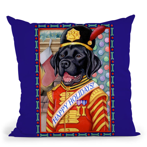 Xmas Black Lab Throw Pillow By Tomoyo Pitcher - All About Vibe
