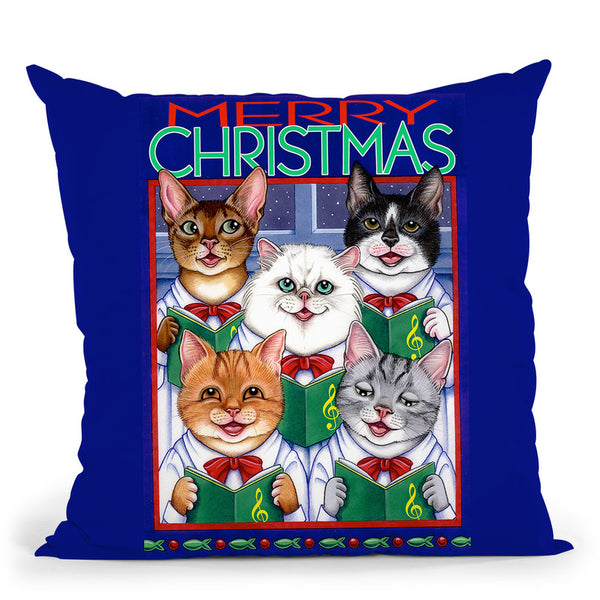 Xmas Cat Chorus Throw Pillow By Tomoyo Pitcher - All About Vibe