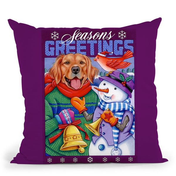 Xmas Golden Retriever Throw Pillow By Tomoyo Pitcher - All About Vibe