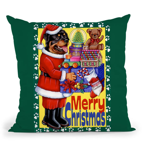 Xmas Rottweiler Throw Pillow By Tomoyo Pitcher - All About Vibe