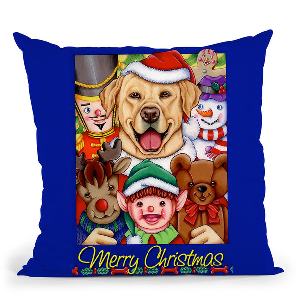 Xmas Yellow Lab Throw Pillow By Tomoyo Pitcher - All About Vibe
