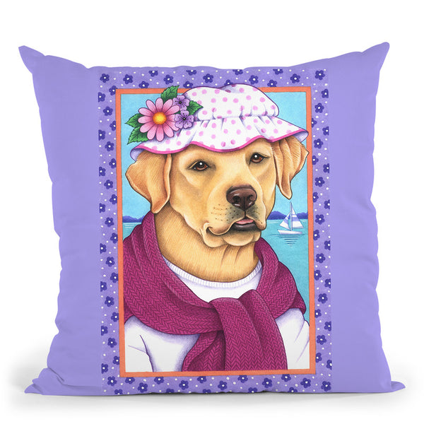 Yellow Lab Sunhat Throw Pillow By Tomoyo Pitcher - All About Vibe