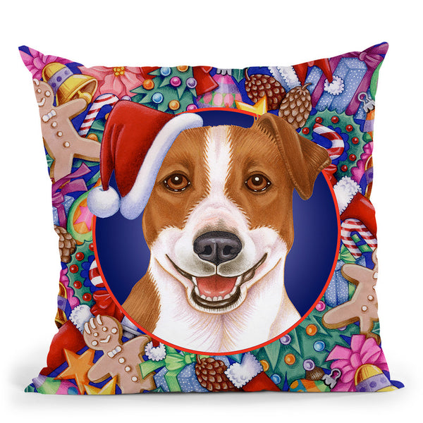 Christmas Jack Russel Throw Pillow By Tomoyo Pitcher - All About Vibe