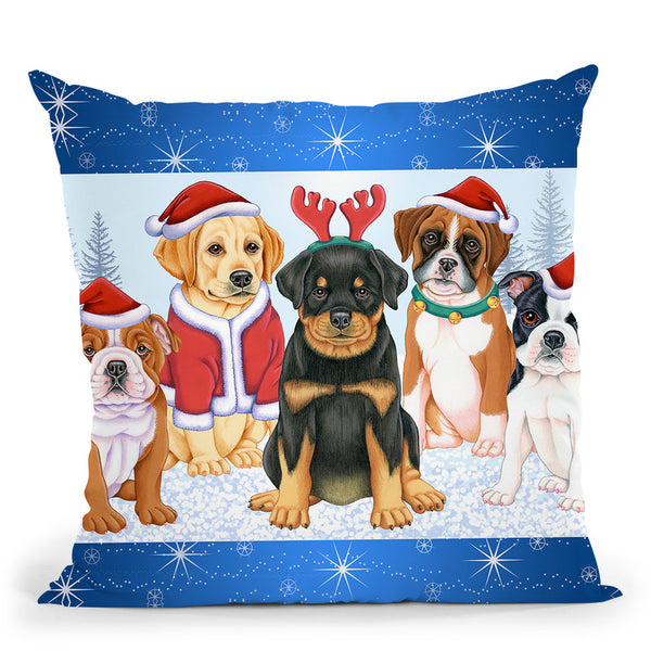Christmas Pups Throw Pillow By Tomoyo Pitcher - All About Vibe