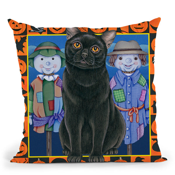 Halloween Black Cat Throw Pillow By Tomoyo Pitcher - All About Vibe