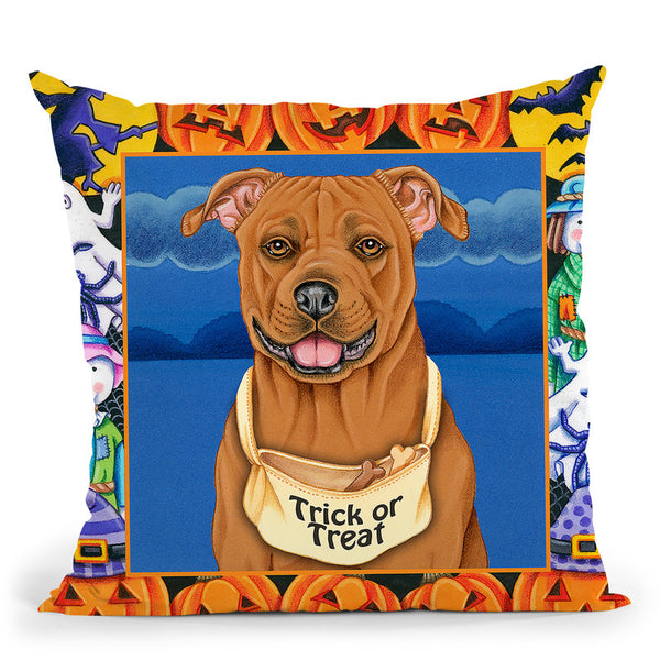 Halloween Pitbull Throw Pillow By Tomoyo Pitcher - All About Vibe