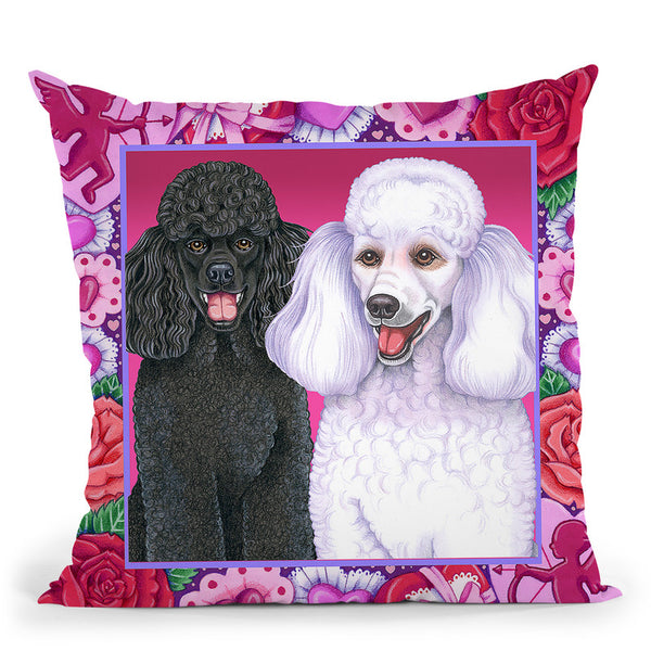 Valentine Poodles Throw Pillow By Tomoyo Pitcher - All About Vibe