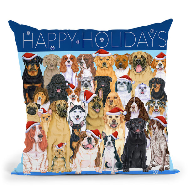 Happy Holidays Dog Group Throw Pillow By Tomoyo Pitcher - All About Vibe