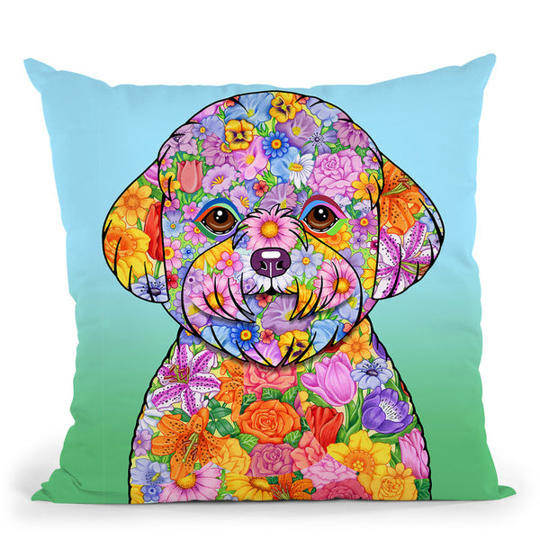 Flowers Bichon Frise Throw Pillow By Tomoyo Pitcher - All About Vibe