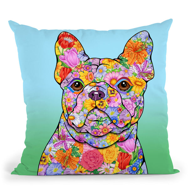 Flowers French Bulldog Throw Pillow By Tomoyo Pitcher - All About Vibe