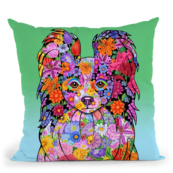 Flowers Papillon Throw Pillow By Tomoyo Pitcher - All About Vibe