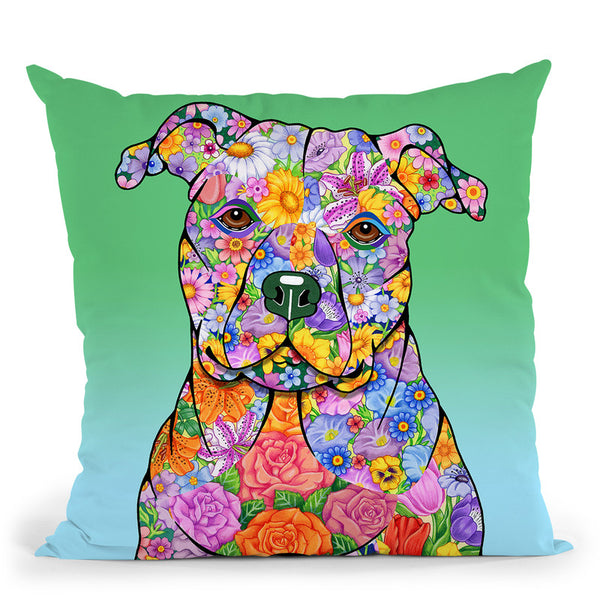 Flowers Pitbull Throw Pillow By Tomoyo Pitcher - All About Vibe