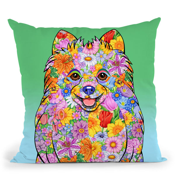 Flowers Pomeranian Throw Pillow By Tomoyo Pitcher - All About Vibe