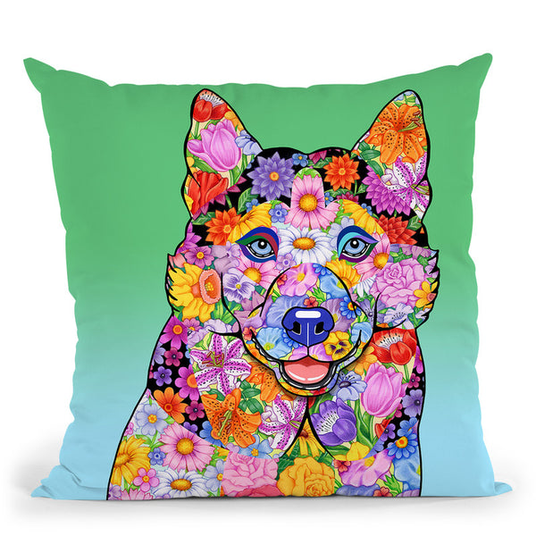 Flowers Siberian Husky Throw Pillow By Tomoyo Pitcher - All About Vibe