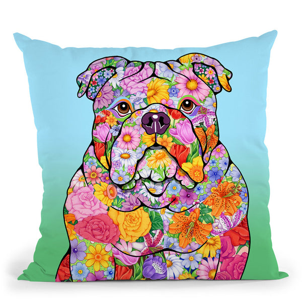 Flowers Bulldog Throw Pillow By Tomoyo Pitcher - All About Vibe