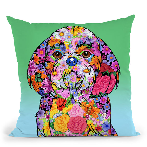 Flowersih Tzu Throw Pillow By Tomoyo Pitcher - All About Vibe