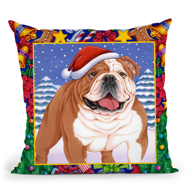 Christmas Bulldog Throw Pillow By Tomoyo Pitcher - All About Vibe