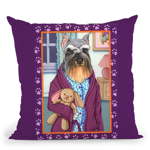 Schnauzer Bedtime Throw Pillow By Tomoyo Pitcher - All About Vibe