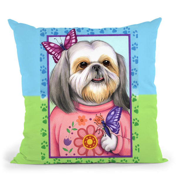 Shihtzu Butterfly Throw Pillow By Tomoyo Pitcher - All About Vibe