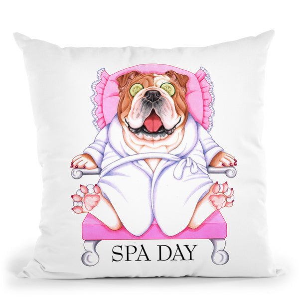 Spa Bulldog Throw Pillow By Tomoyo Pitcher - All About Vibe