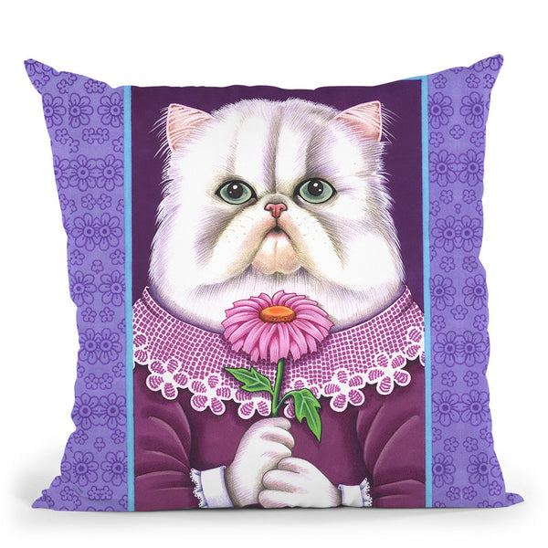 White Persian Throw Pillow By Tomoyo Pitcher - All About Vibe