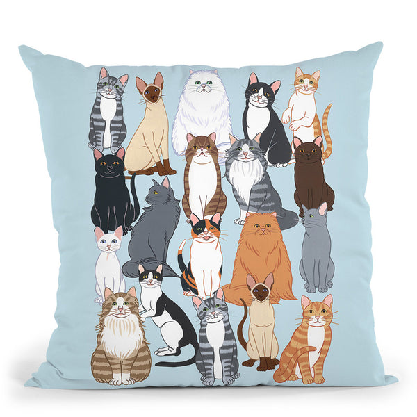 Cat Pattern 1 Throw Pillow By Tomoyo Pitcher - All About Vibe