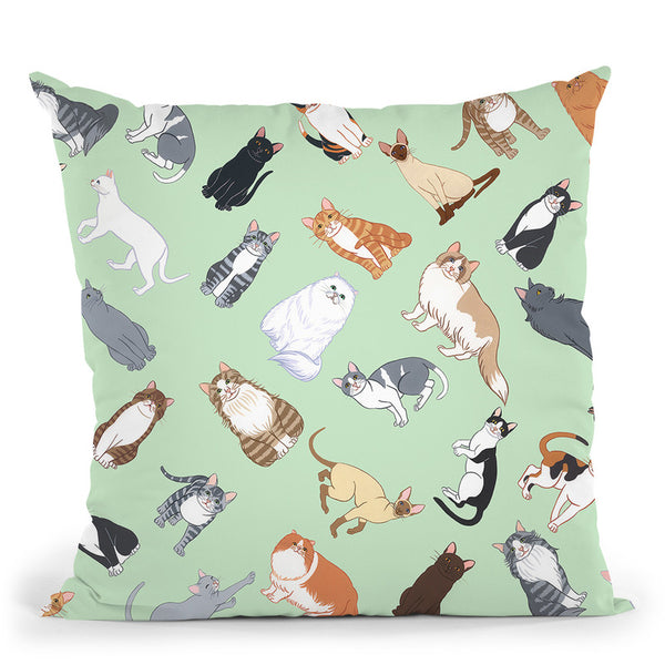 Cat Pattern 2 Throw Pillow By Tomoyo Pitcher - All About Vibe