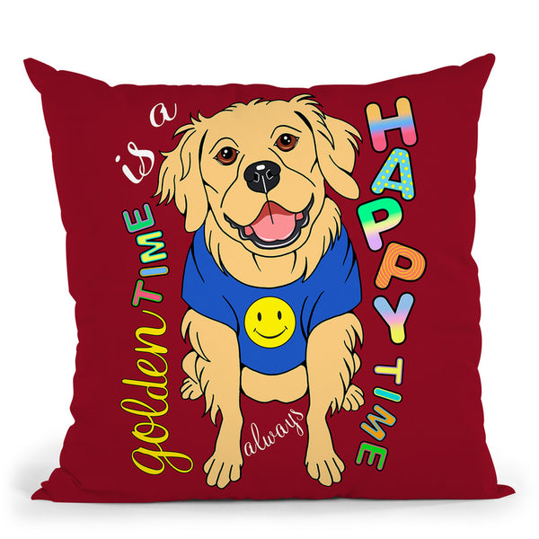 Golden Retriever Graphic Style Throw Pillow By Tomoyo Pitcher - All About Vibe