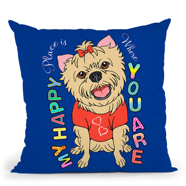 Yorkie Graphic Style Throw Pillow By Tomoyo Pitcher - All About Vibe