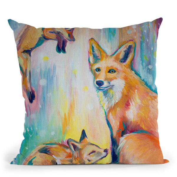 Psychedelic Foxes Throw Pillow By Emily Heard - All About Vibe