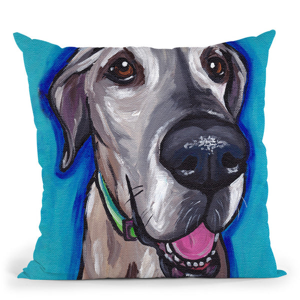 Great Dane Beau Throw Pillow By Hippie Hound Studios - All About Vibe
