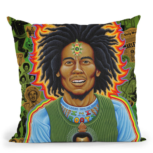 Bob Marley Roots Throw Pillow By Chris Dyer - All About Vibe