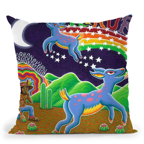 Hikuri Venado Azul Throw Pillow By Chris Dyer - All About Vibe