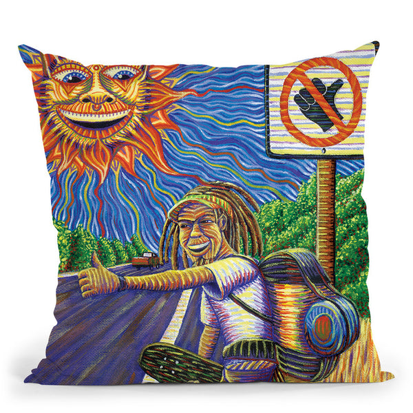 Hitchiking Hobo Throw Pillow By Chris Dyer - All About Vibe