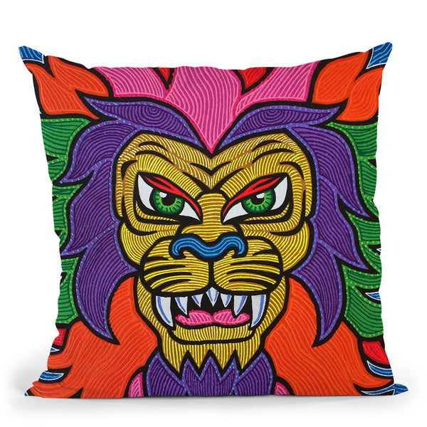 Lion-I Throw Pillow By Chris Dyer - All About Vibe