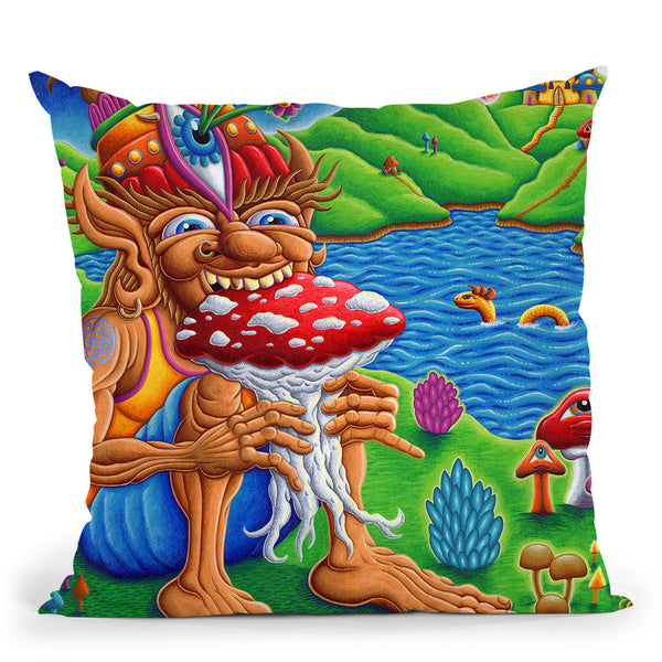 Muncher Of Mushroomland Throw Pillow By Chris Dyer - All About Vibe