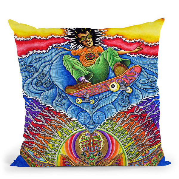 Skateboard Spirituality Throw Pillow By Chris Dyer - All About Vibe