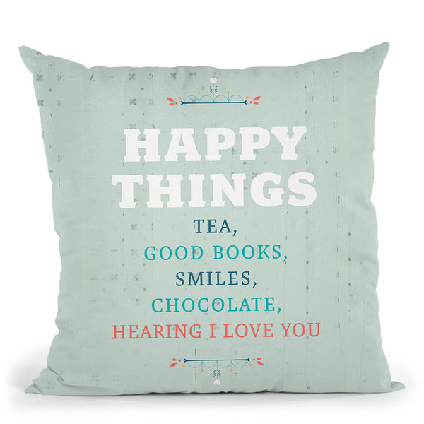 Happy Things Throw Pillow By American Flat - All About Vibe