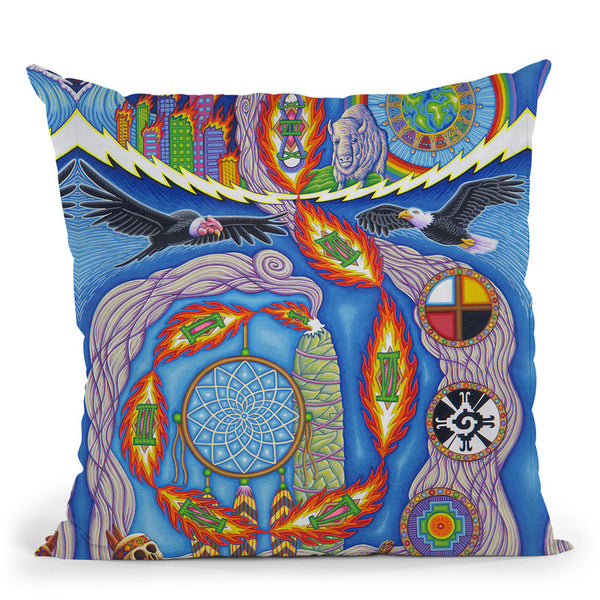 The Prophecy Of The 8Th Fire Throw Pillow By Chris Dyer - All About Vibe