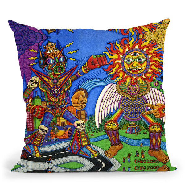 The Battle Of Mind N Soul Throw Pillow By Chris Dyer - All About Vibe