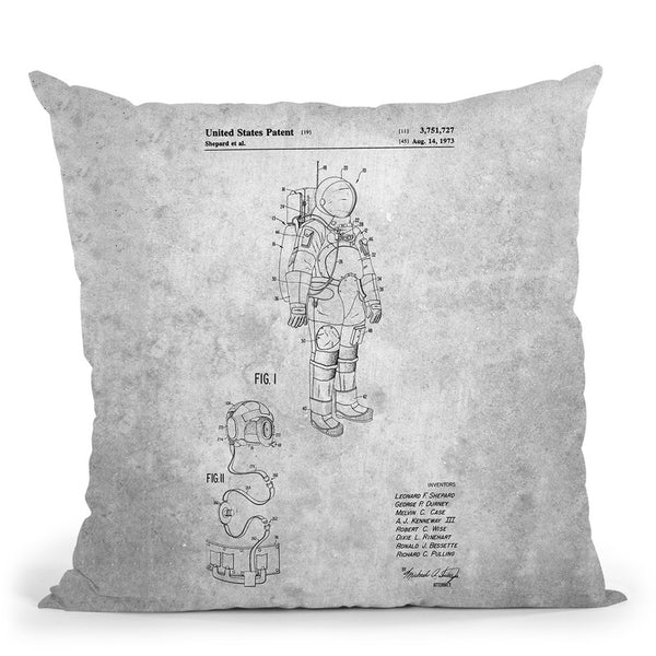 Space Suit Blueprint Throw Pillow By Cole Borders - All About Vibe