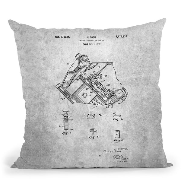 Engine Blueprint Throw Pillow By Cole Borders - All About Vibe