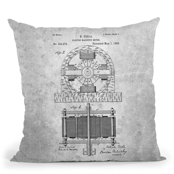 Tesla Motor Blueprint Throw Pillow By Cole Borders - All About Vibe