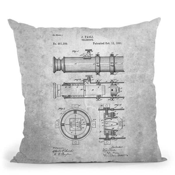 Telescope Blueprint Throw Pillow By Cole Borders - All About Vibe