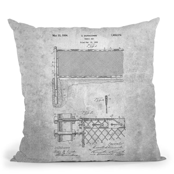 Tennis Net Blueprint Throw Pillow By Cole Borders - All About Vibe
