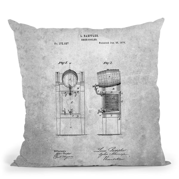 Beer Keg Blueprint Throw Pillow By Cole Borders - All About Vibe