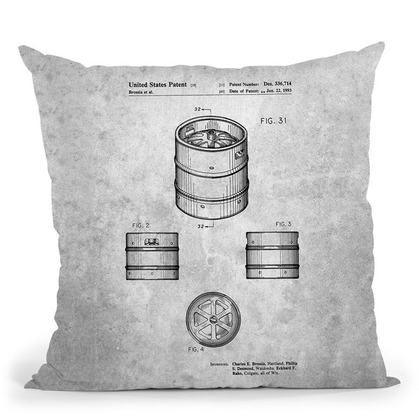 Beer Keg Blueprint I Throw Pillow By Cole Borders - All About Vibe