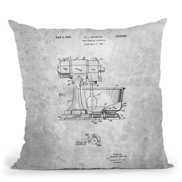 Mixer Blueprint Throw Pillow By Cole Borders - All About Vibe
