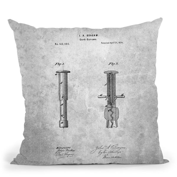 Corkscrew Blueprint Throw Pillow By Cole Borders - All About Vibe