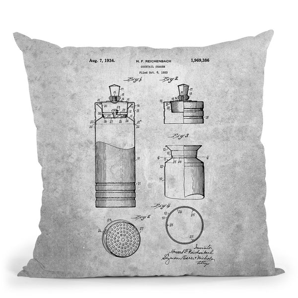 Cocktail Mixer Blueprint Throw Pillow By Cole Borders - All About Vibe